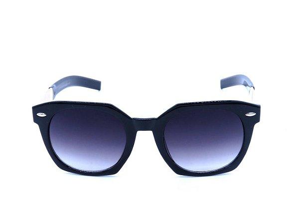Óculos de Sol Prorider Preto com Lente Degradê e Detalhe Dourado em Animal Print