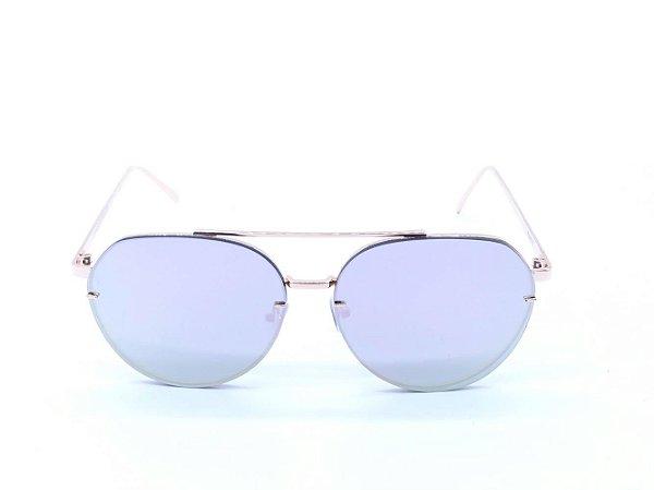 Óculos de Sol Prorider Dourado com Lente Espelhada Prata - D071002C5