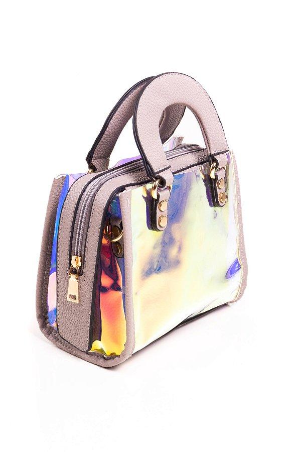 Bolsa Paul Ryan Neon Bege Cinza e Translúcido colorido