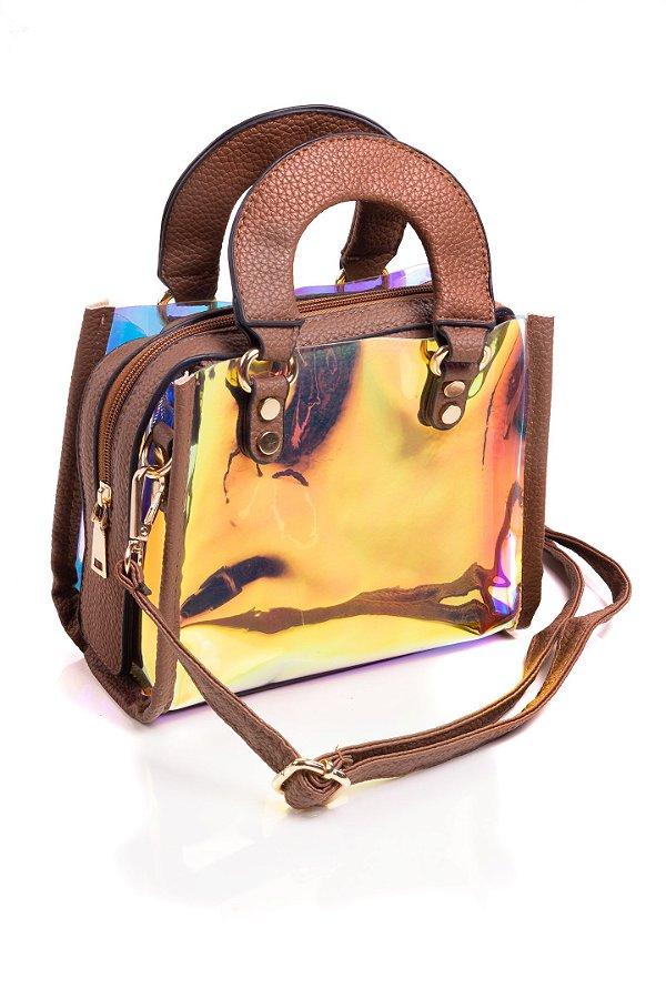 Bolsa Paul Ryan Neon Marrom e Translúcido colorido