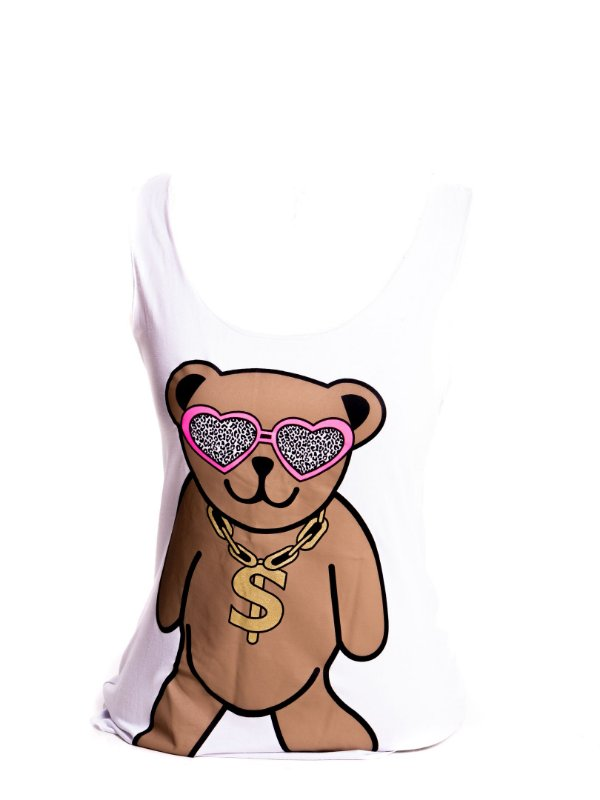 Regatinha Fitness Infantil Basic Bad Rose branca com estampa urso colorido
