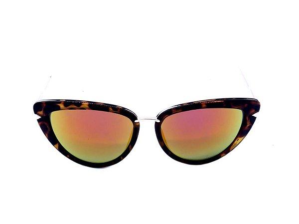 Óculos de Sol Prorider Animal Print com Dourado e Lente Espelhada - H01440C3