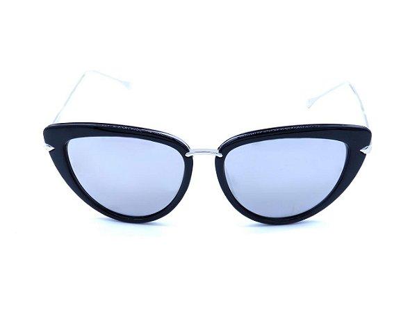 Óculos de Sol Prorider Preto e Prata com Lente Espelhada Prata - H01440C4