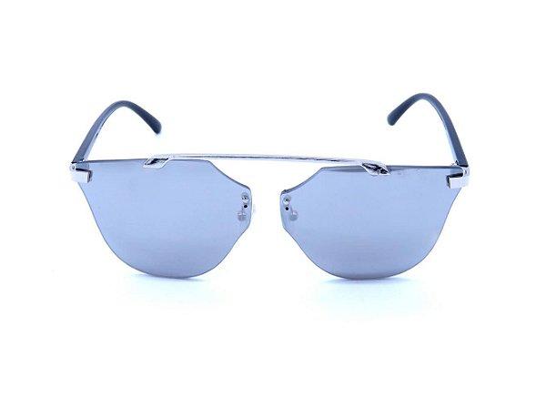 Óculos de Sol Prorider Prata e Preto com Lente Espelhada Prata - H01552C5