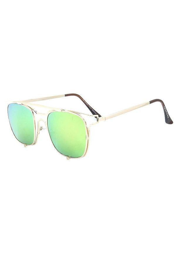 Óculos de Sol Prorider Dourado com Lente Espelhada Rosa e Verde - H01561C2