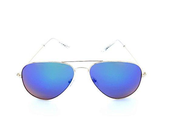 Óculos de Sol Prorider Aviador Dourado com Lente Espelhada Colors - H03026-3