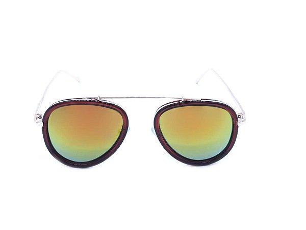 Óculos de Sol Prorider Marrom e Dourado com Lente Espelhada Colors - RM0275