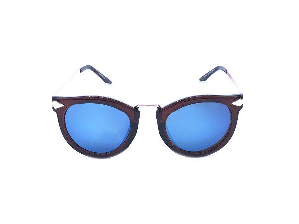 Óculos de Sol Prorider Dourado e Marrom com Lente Espelhada Azul - TORTOLA