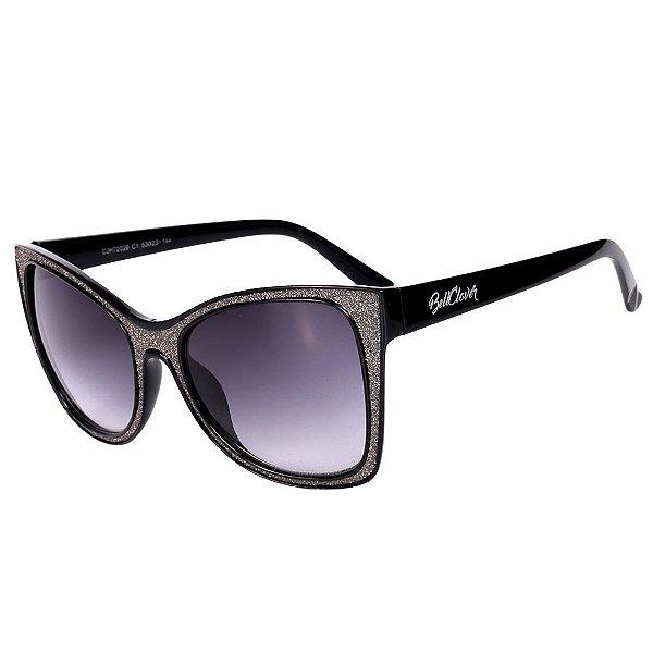 Óculos de Sol Feminino BellClover Preto com Detalhe Brilhante Prata