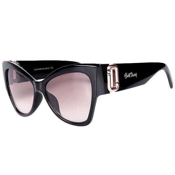 Óculos de Sol Feminino BellClover Preto com Detalhe Dourado