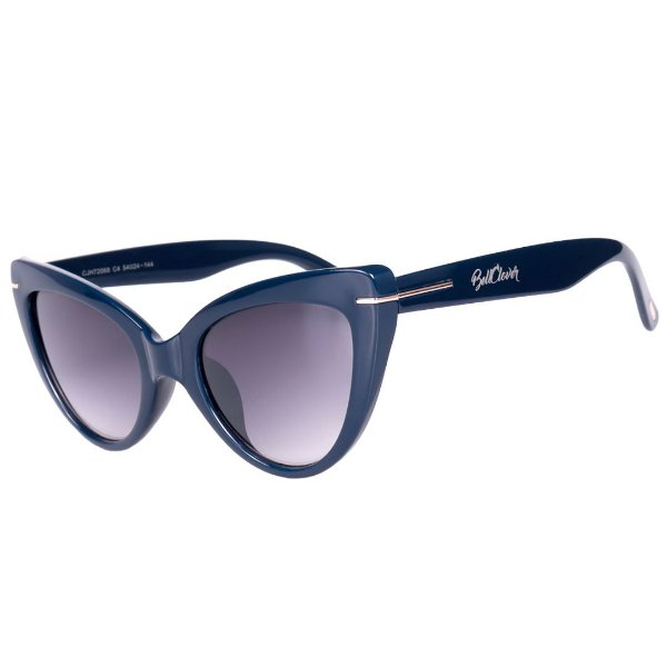 Óculos de Sol Feminino BellClover Azul Escuro com Detalhe Dourado