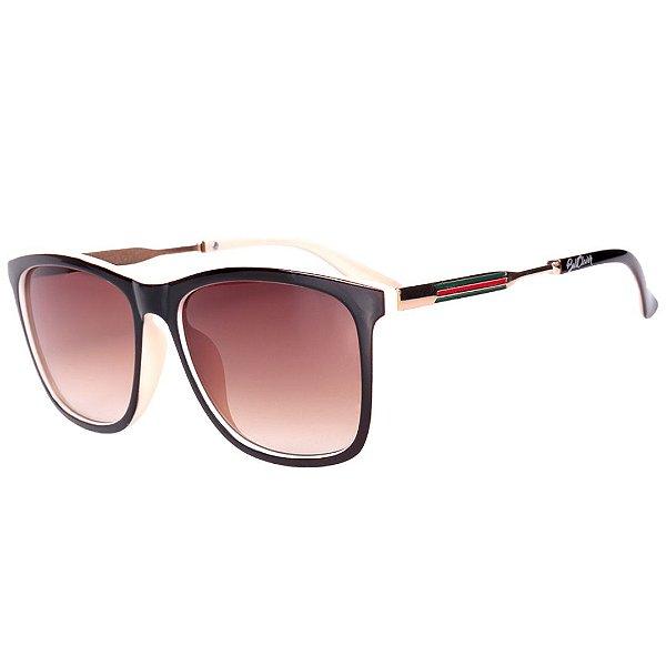 Óculos de Sol Feminino BellClover Marrom Escuro com Bege e Dourado