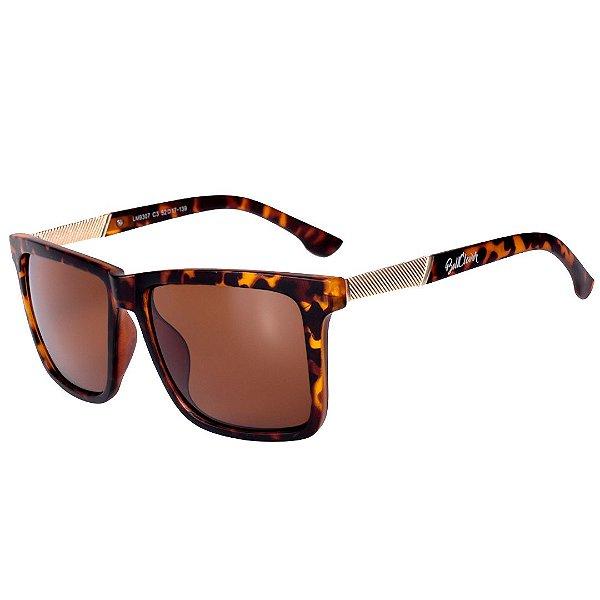 Óculos de Sol Feminino BellClover Animal Print Fosco com Dourado