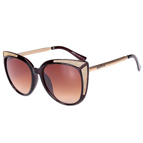 Óculos de Sol Feminino BellClover Marrom com Detalhe em Dourado Brilhante