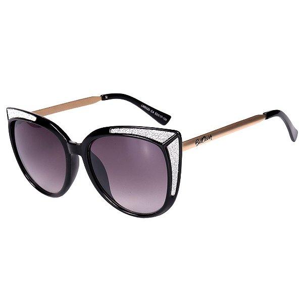 Óculos de Sol Feminino BellClover Preto Com Detalhe Prata Brilhante