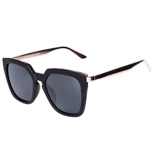 Óculos de Sol Feminino BellClover Preto Fosco com Dourado