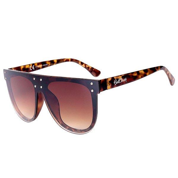 Óculos de Sol Feminino BellClover Animal Print Translúcido com Lente Degrade