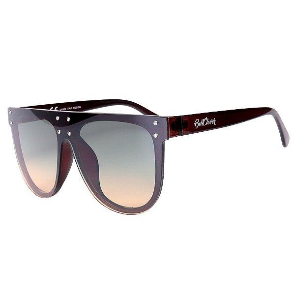 Óculos de Sol Feminino BellClover Marrom com Lente Degrade Verde e Marrom