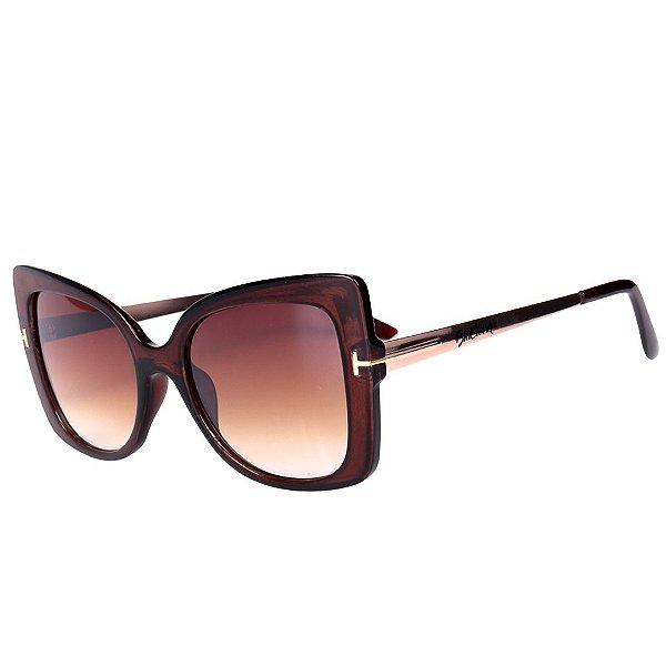Óculos de Sol Feminino BellClover Marrom Translúcido com Dourado