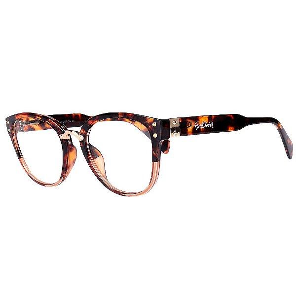 Óculos de Grau Feminino BellClover Tartaruga Translúcido com Dourado