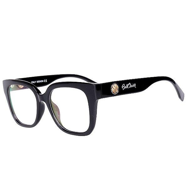 Óculos de Grau Feminino BellClover Preto com Detalhe Dourado