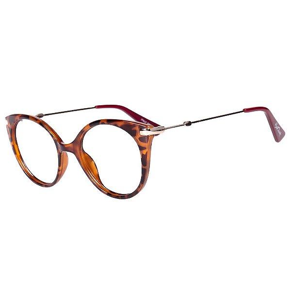 Óculos de Grau Feminino BellClover Animal Print Translúcido com Dourado