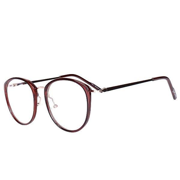 Óculos de Grau Feminino BellClover Marrom Translúcido com Dourado