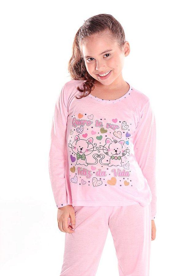Pijama Infantil Conjunto Rosa Gatinhos