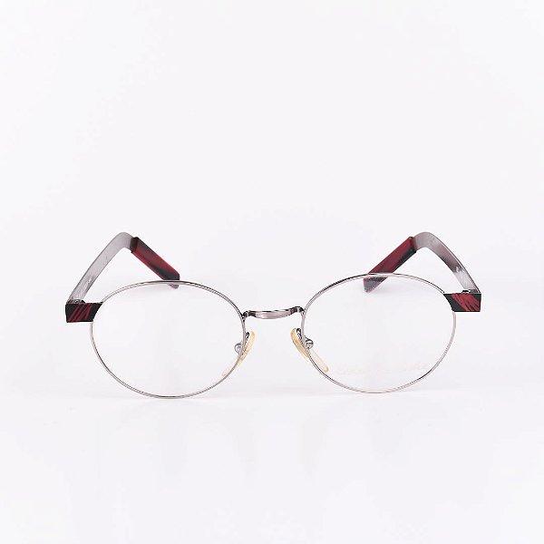 Óculos Receituário Robert La Roche Grafite com Haste Preta com Listras Vermelhas - RROCR105M68