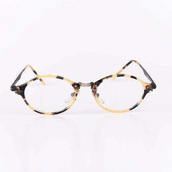 Óculos Receituário Robert La Roche Preto  Dourado e Preto com Animal Print - RROCRCA117
