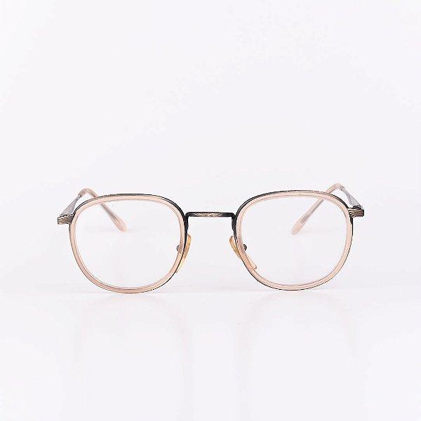 Óculos Receituário Robert La Roche Bege Translúcido Fosco com Preto e Dourado - RROCRCA12