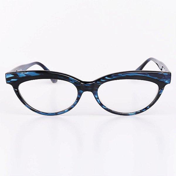 Óculos Receituário Robert La Roche Preto Rajado com Azul Brilhante - RROCRLR262