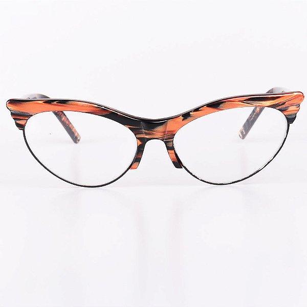 Óculos Receituário Robert La Roche Preto Rajado com Laranja Brilhante - RROCRLR259