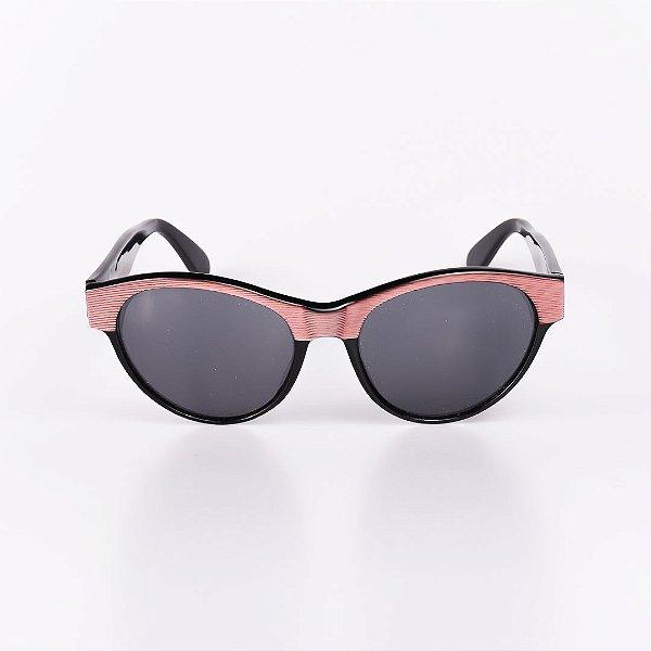 Óculos de Sol Feminino Robert La Roche Preto com Detalhe Listrado - RROCS011