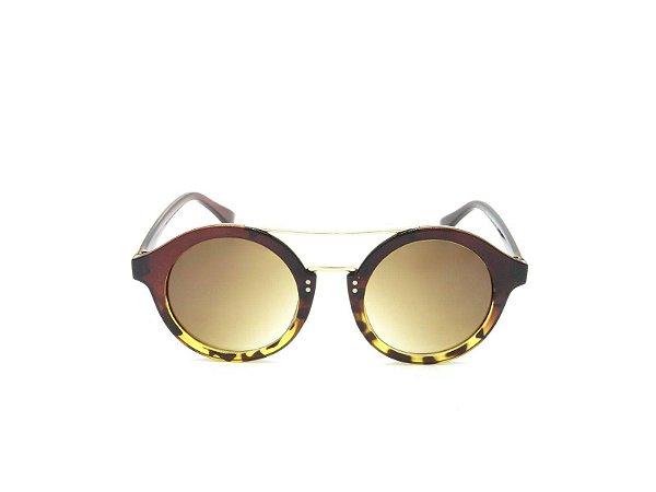 Óculos Solar Prorider Redondo com Marrom e Detalhe em Animal Print - CJ6105C3