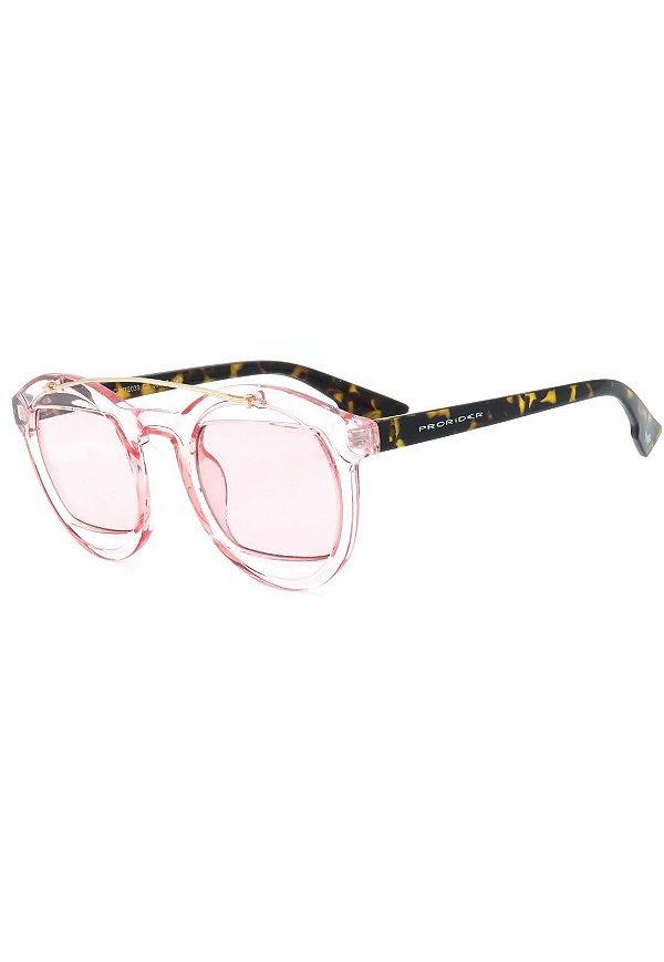 Óculos de Sol Prorider Rosa Translúcido em Animal Print - CJH72039C5