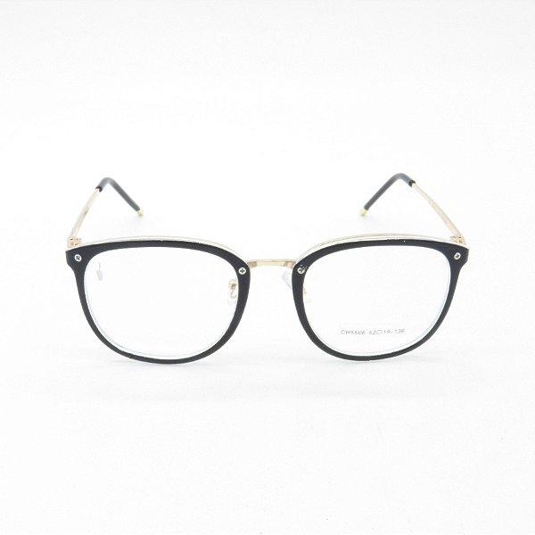 Óculos Receituário Prorider Arrdondado Preto e Dourado - ch5506c1