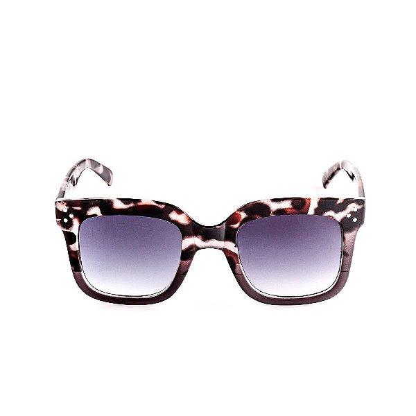 Óculos Solar Voor Vert Animal Print Marrom com Translúcido Acinzentado - VVOCSFY82007C4