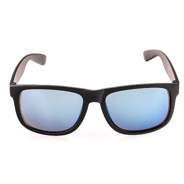 Óculos de Sol Voor Vert Preto Fosco com Lente Espelhada Azul - VVOCS25247-1