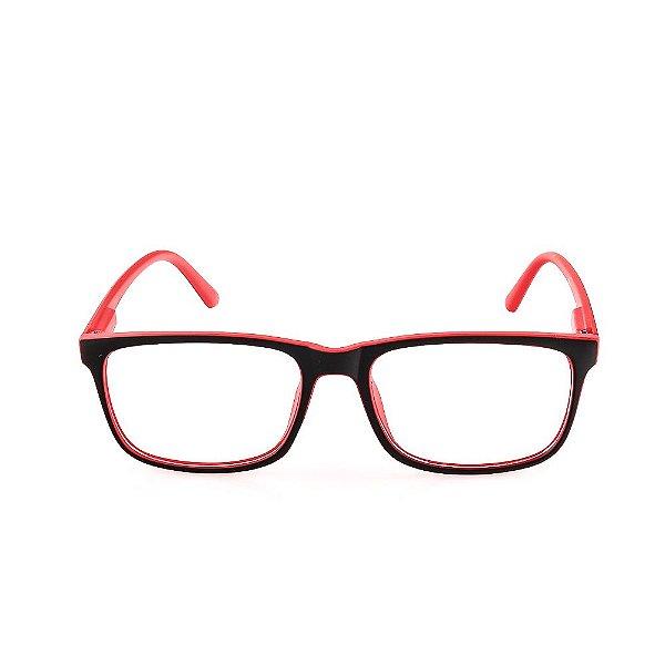 Óculos Receituário Voor Vert Preto e Vermelho Fosco - VVOCRGP016