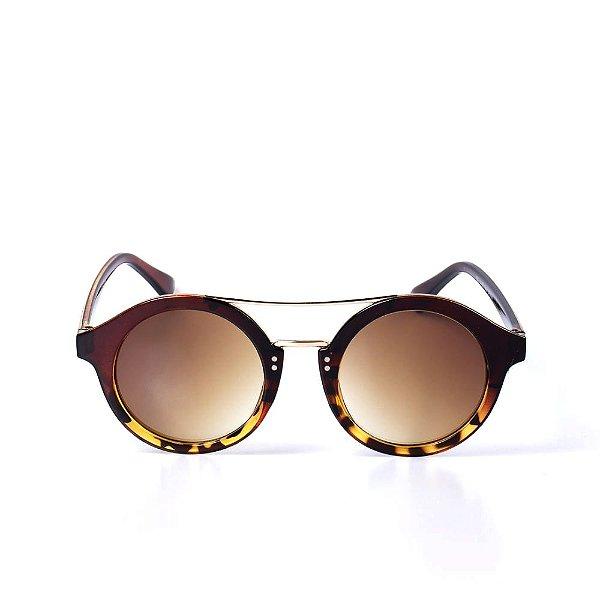 Óculos de Sol OTTO - Redondo Animal Print Marrom com Dourado