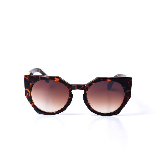 Óculos de Sol OTTO - Animal Print Com Detalhe Rosa e Amarelo
