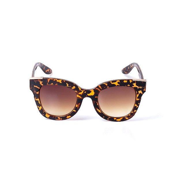 Óculos de Sol OTTO - Animal Print Com Dourado