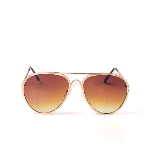 Óculos de Sol OTTO - Aviador Dourado com Lente Degradê Marrom