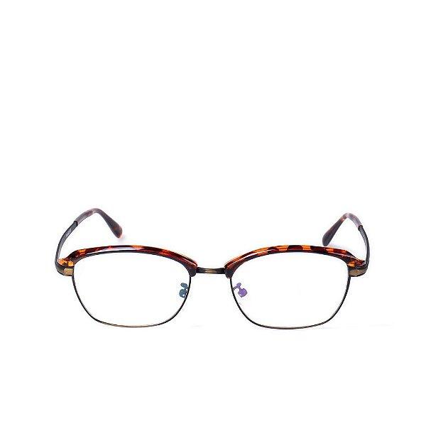 Óculos Receituário Otto - em Animal Print com Dourado e Preto Fosco