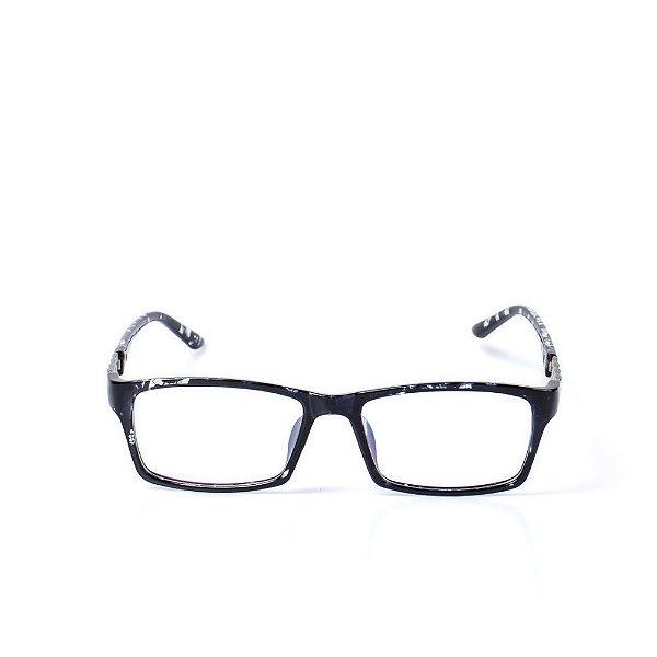 Óculos Receituário Otto - Animal Print Azul com Detalhe Prata