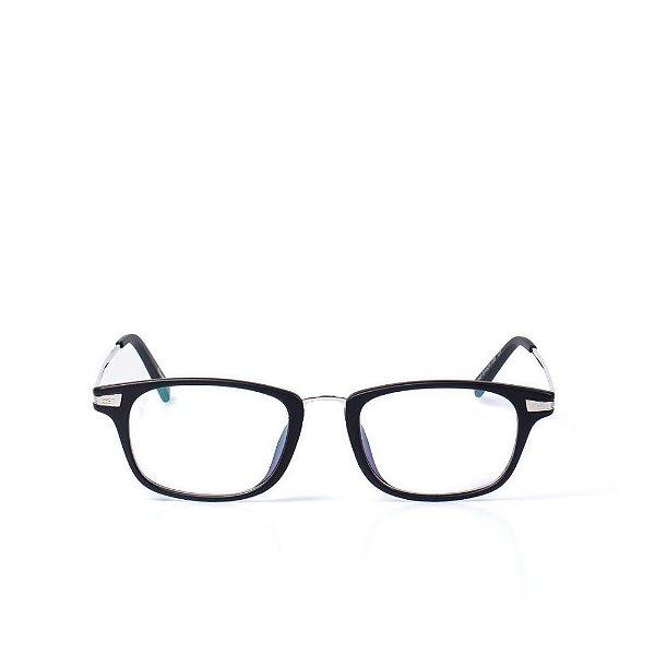 Óculos Receituário Otto - Preto Fosco com Prata