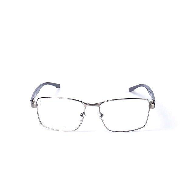 Óculos Receituário Otto - Prata Fosco com Cinza e Azul escuro