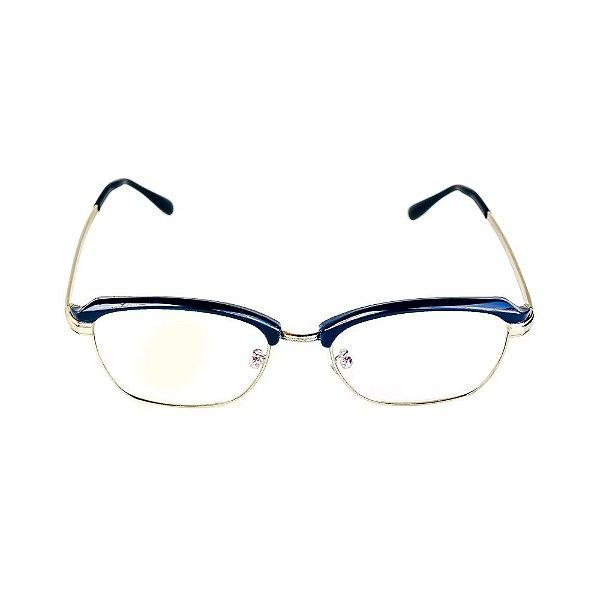 Óculos Receituário Titania Preto com Prata Arredondado