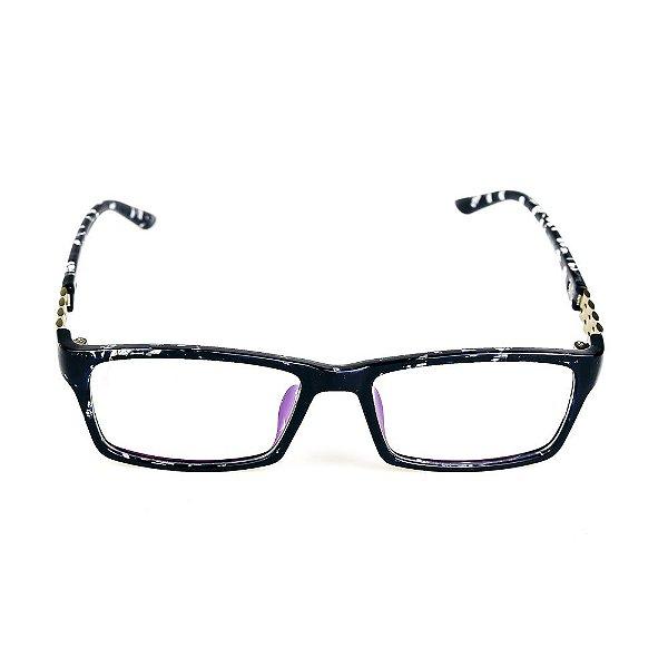 Óculos Receituário Titania Animal Print com Detalhe Prata